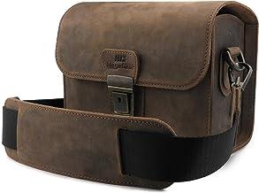 MegaGear Pebble Kameratasche - Kuriertasche aus echtem Leder für Spiegellose, Sofortbild- und DSLR Kameras
