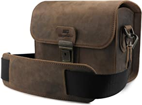 MegaGear Pebble Genuine Leather Camera Messenger Bag for Mirrorless, Instant and DSLR Cameras