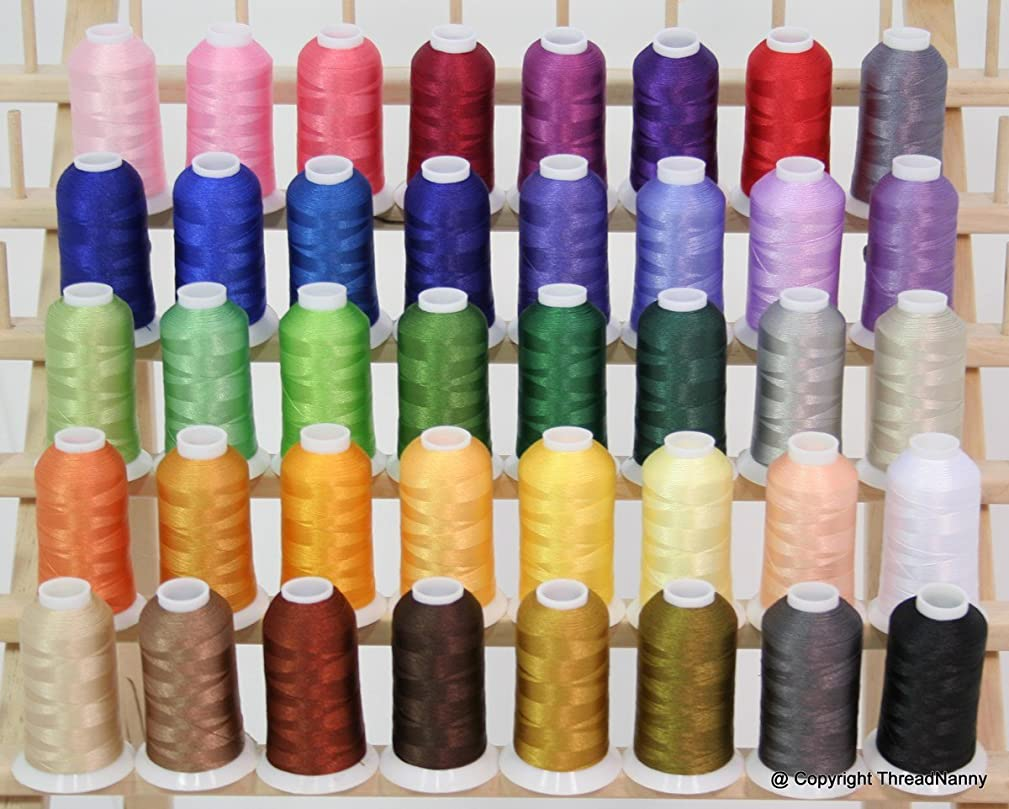 40 Color Premium Polyester Embroidery Thread Set Spools for Machines Brother Babylock Janome Singer Pfaff Husqvarna Bernina Machines