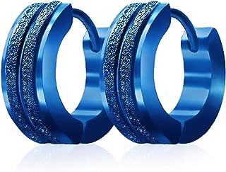 Stainless Steel Hoop Earrings For Men's Women's,Silver/Gold/Black/Blue Hypoallergenic Round Huggie Earrings,Fashion Punk E...