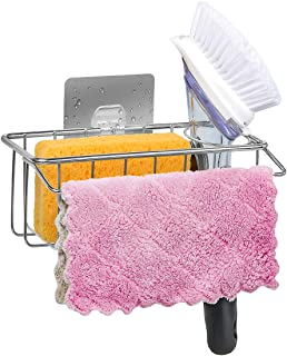 3-In-1 Adhesive Sponge Holder, In Sink Brush Caddy and Dish Cloth Holder, 304 Stainless Steel Sink Organization - No FALLING