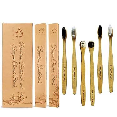 Futuresses Bamboo Toothbrush, Biodegradable Toothbrush, Eco Friendly Toothbrushes, BPA Free Bamboo Toothbrushes Soft Bristles, 4 Bamboo Toothbrushes and 2 Tongue Brush