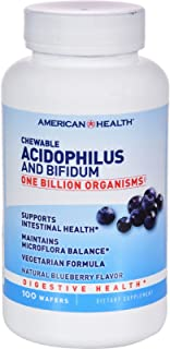 Chewable Acidophilus with Bifidus 1 Billion Natural Blueberry (100 Chewable Wafers)