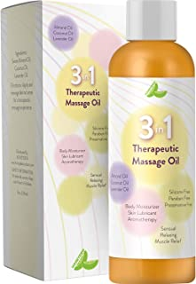 Aromatherapy Massage Oil for Sore Muscles 3 in 1 Sensual Massage Oil Skin Lubricant for Women & Men – Therapeutic Body Oil to Relax &Revitalize Your Senses with Antioxidant Almond Lavender & Coconut