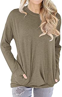 Women's Round Neck Sweatshirt Pocket Pullover Long Sleeve T Shirts Casual Loose Tunic Tops Blouse