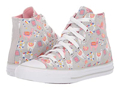 Converse Kids Chuck Taylor(r) All Star(r) Llama Hi (Little Kid/Big Kid) (Mouse/Coastal Pink/White) Girls Shoes