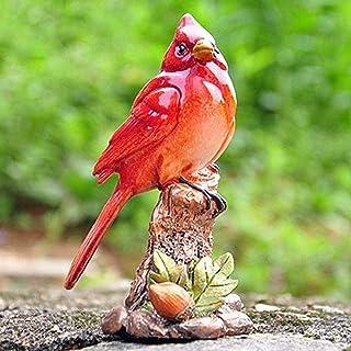 Luckyw Trädgårdsprydnader kreativ målad gren röd fågel vattentät harts trädgårdsstaty för gård landskap gräsmatta dekorati...