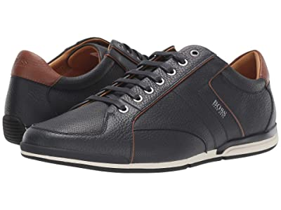 BOSS Hugo Boss Saturn Low Profile Leather Sneaker by BOSS (Dark Blue) Men