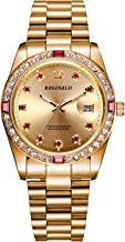 REGINALD Unisex Watch Luminous Hands Sapphire Full Gold Stainless Steel Quartz Diamonds Dial Watches