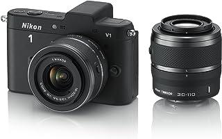 Nikon 1 V1 Systemkamera (10 Megapixel, 7,5 cm (3 Zoll) Display) schwarz inkl. 1 Nikkor VR 10 30 mm und VR 30 110 mm Objektive