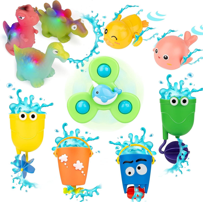 UNIH Bath Toys, Bath Toys for Toddlers 1-3, 10 Pcs Baby Bath Toy