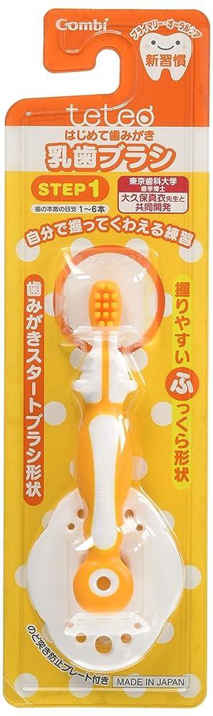 未使用スカーフ母音【日本製】コンビ Combi テテオ teteo はじめて歯みがき 乳歯ブラシ STEP1 (歯の本数の目安:1~6本) 最初の歯が生えはじめたら