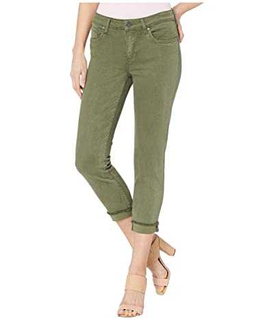 KUT from the Kloth Amy Crop Straight Leg Roll Up Frey in Olive (Olive) Women