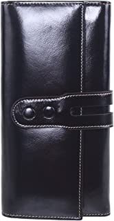 AINIMOER Women's Leather Clutch Wallet Large Ladies Purse Card Holder Zipper Pocket