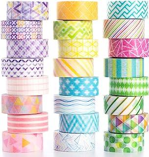Yubbaex ミニ マスキングテープ虹ライン 10mm幅 x 24巻 薄いです プレゼント包装、DIY工芸品、ノートの装飾に使える