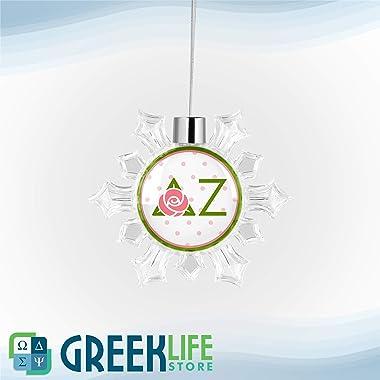 greeklife.store Delta Zeta Snowflake Round Ornament Christmas Decor
