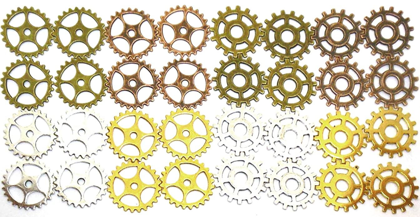 Gears Cogs 1 inch Antiqued Copper, Brass, Silver and Gold for Crafting Steampunk Jewelry & Altered Art Set of 32 Pieces