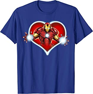 Iron Man Heart Blaster Glow Valentine Graphic T-Shirt