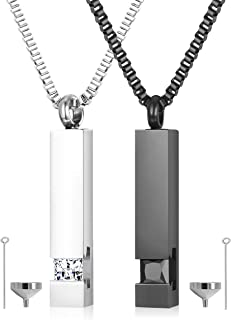 2 pcs Cremation Urn Pendant Necklace for Memorial Black Stainless Steel with CZ Necklace Ashes Jewelry Keepsakes
