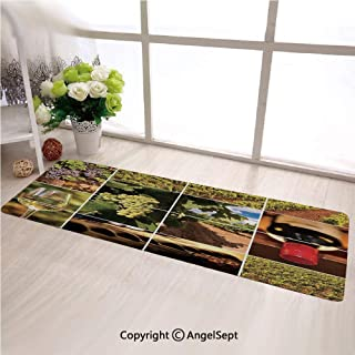 Custom Anti Slip Long Rectangle Mat,Vineyard Landscapes Purple Grapes French Bottle Glass Rustic Cellar CouplesGreen Red Brown,Fashion Long Carpet Choose Your Width by Length