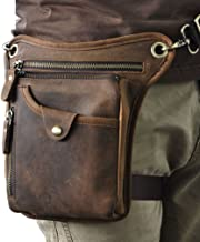 Hebetag Vintage Leather Waist Pack Drop Leg Bag for Men Women Belt Bumbag Multi-Purpose Motorcycle Bike Outdoor Sports Tactical Cycling Riding Hiking Camping