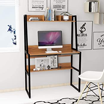 Hironpal Computer Desk Table Home Office Desk Table Study Desk With Shelf For Bedroom Living Room Small Spaces Metal Frame Black Walnut Amazon Co Uk Kitchen Home