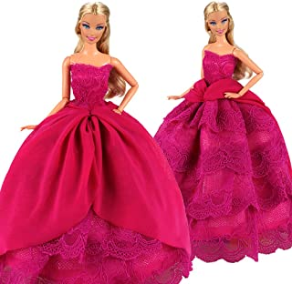BARWA Pink Princess Evening Party Clothes Wears Train Wedding Gown Dress Outfit for 11.5 Inch Girl Doll(Black)