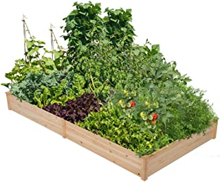 Yaheetech Wooden Raised Garden Bed Kit Planter Box for Vegetables Natural Wood 97 x 48.5 x 10in