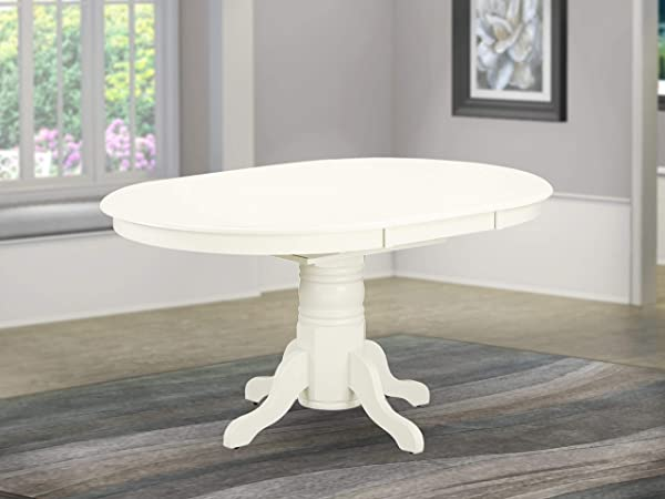 East West Furniture AVT LWH TP Avon Oval Table With 18 Butterfly Leaf Medium Linen White