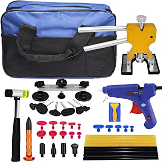 JMgist Paintless Dent Repair Tool PDR Kits Dent Lifter Bridge Rubber Hammer with Tool Bag for Auto Car Body Dent Removal