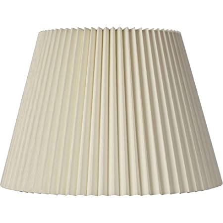 """Ivory Linen Knife Pleat Medium Lamp Shade 9"""" Top x 14.5"""" Bottom x 10"""" High (Spider) Replacement with Harp and Finial - Brentwood"""