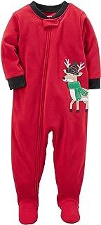Carter's Boys 1-Piece Reindeer Fleece PJs, Red/Black Reindeer, 24 Months