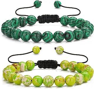 Sllrrka Mens Beads Bracelets Women Adjustable Rope Crystal Beaded Stone Bracelet
