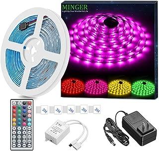 MINGER LED Strip Light Waterproof 16.4ft RGB SMD 5050 LED...