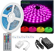 MINGER LED Strip Light Waterproof 16.4ft RGB SMD 5050 LED Rope Lighting Color Changing Full Kit with 44-keys IR Remote Controller, Power Supply Led Lights for Bedroom Home Kitchen Decoration