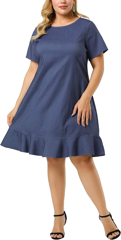 Agnes Orinda Plus Size Denim Dresses for Women Ruffle Hem Summer Casual Short Sleeve Chambray Dress