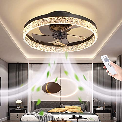 """discount 19.7"""" Ceiling Fan With Light And Remote Control,Modern Flush Mount Ceiling discount lowest Fan Light Kit,Round Hidden Reversible Blades Household Fan Chandelier With 3 Colors 6 Speeds Timing Low Profile Fan (Black) online"""