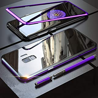 QLTYPRI Samsung Galaxy S9 Case, Magnetic Adsorption Metal Case Aluminum Bumper 9H Tempered Glass Back Cover NO Screen Protector [Wireless Charging] - Clear Purple & Black