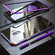 QLTYPRI Samsung Galaxy S10 Plus Case, Magnetic Adsorption Metal Case Aluminum Bumper 9H Tempered Glass Back Cover NO Screen Protector [Wireless Charging] - Clear Purple & Black