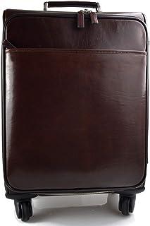 Borsone in pelle borsa viaggio con ruote e manico borsa cabina bagaglio a mano trolley pelle rigido uomo donna testa moro