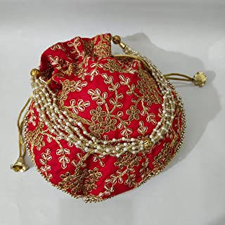JJ Arts POTLI Bag with Handmade Embroidery with Silk (red)