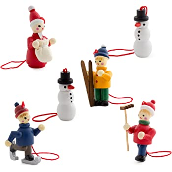 BRUBAKER 6 Handpainted Wooden Christmas Tree Ornaments Decoration Winter Outdoor Activity- Santa Claus, Snowman, Ice Skater, Skier - Designed in Germany