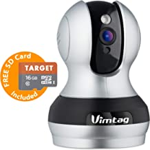 Vimtag 361 2MP Smart WiFi IP Camera, Wireless Indoor Camera with Two/Way Audio, Motion Detection, Night Vision, PTZ for Monitor Home Surveillance, Work with Alexa 1080P (362) FREE SD Card Included