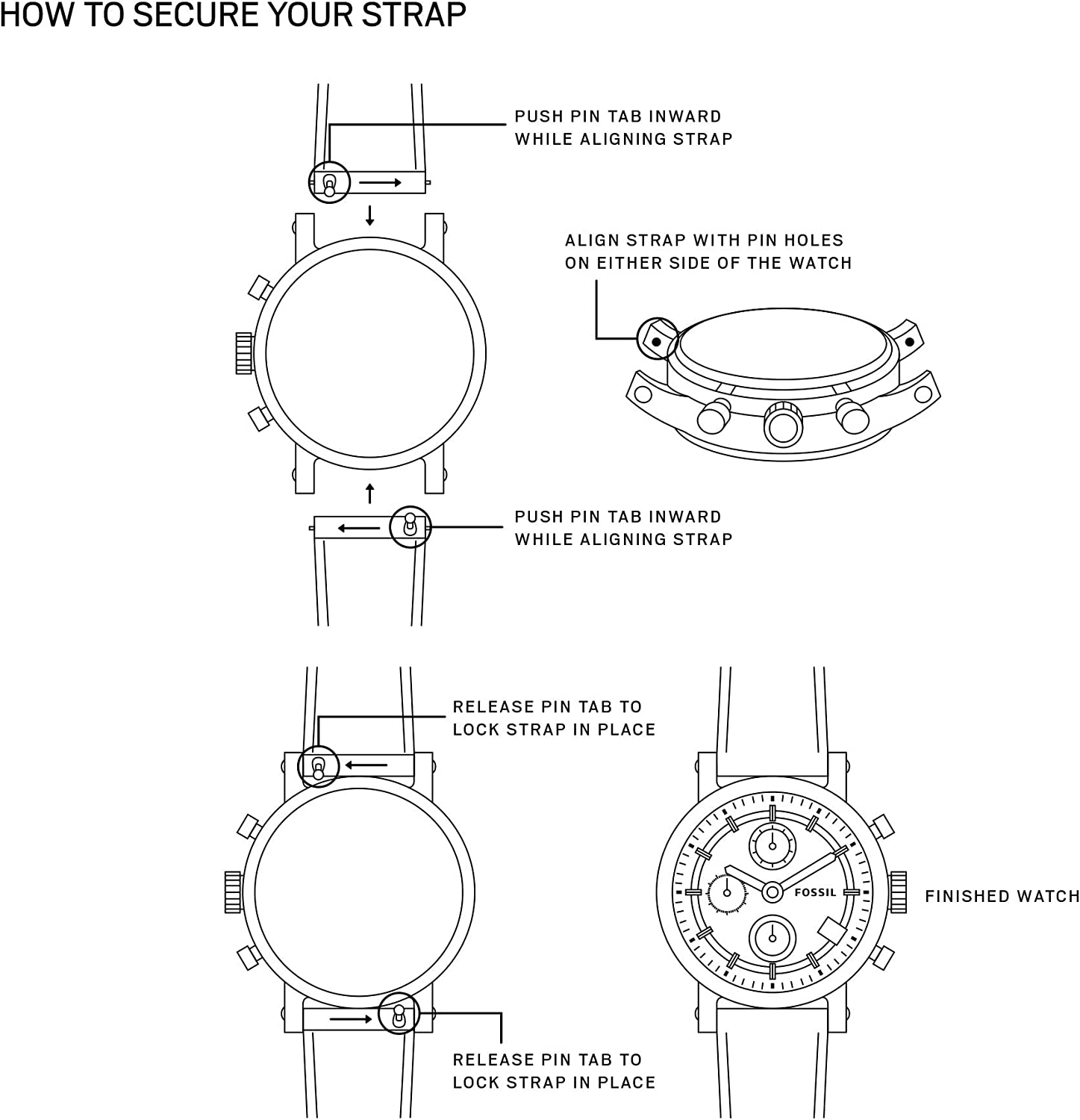 Fossil Silicone and Stainless Steel Interchangeable Watch Band Strap