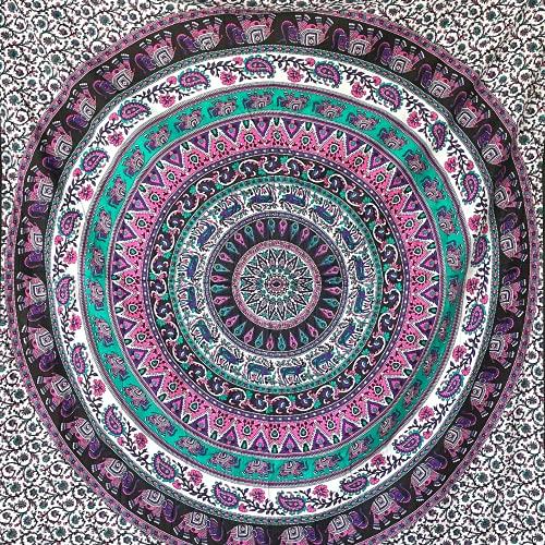 MOMOMUS Tapiz de Mandala para Pared - Ideal como Pareo, Colcha, Mantel, Alfombra de Picnic, Manta/Toalla de Playa Grande - Versátil, 100% Algodón y Tintes Vegetales (Lila A, 210x230 cm)