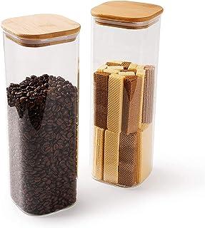 Annfly Lot de 2 bocaux hermétiques en verre avec couvercle en bambou - Design moderne - Transparent - 2 000 ml