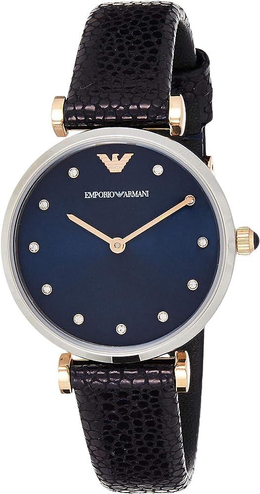 Emporio armani, orologio analogico per donna, in acciaio,cinturino in pelle e quadrante con cristalli AR1989