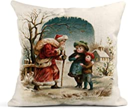Kinhevao Cojín Visita de Navidad de San Nicolás Principios de 1900S Vintage Santa Currier Cojín de Lino Almohada Decorativa para el hogar