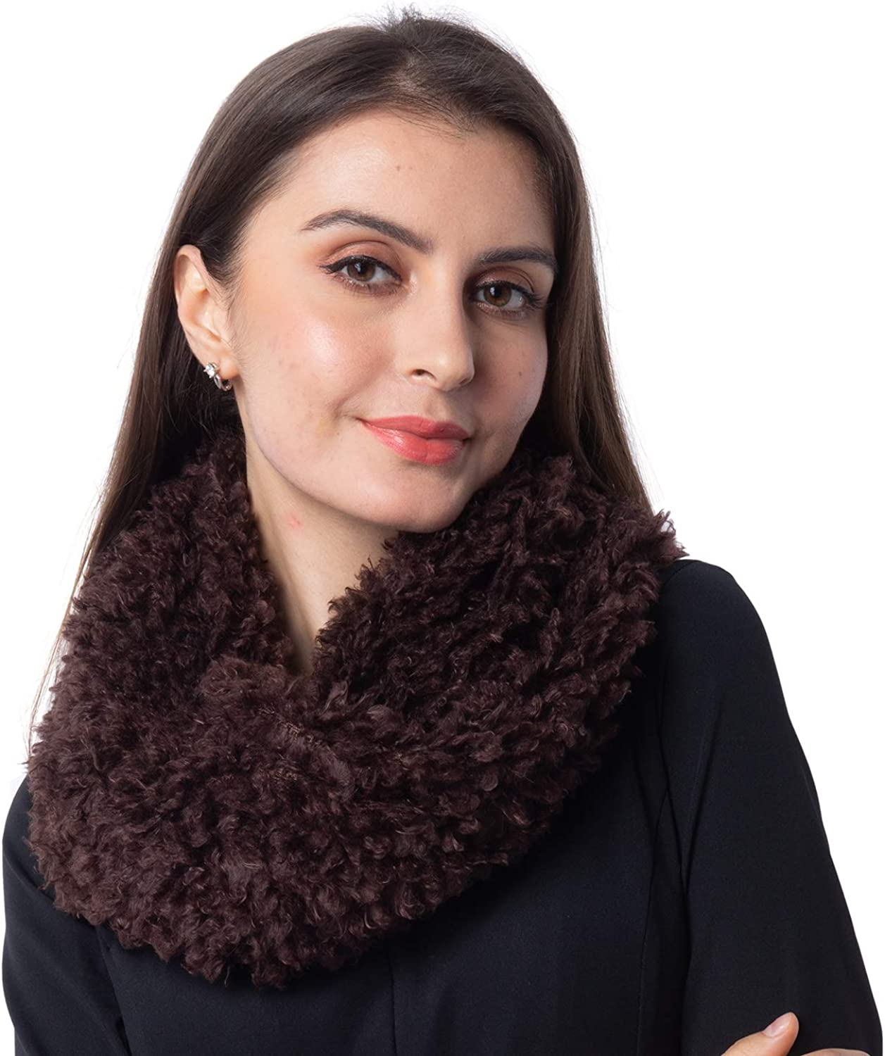 Brown 100% Polyester Twisted Infinity Faux Fur Lightweight Scarf Wrap Hijabs for Women 15x11
