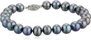 14K White Gold 8mm-9mm Black Freshwater Cultured AA Quality Pearl Strand Bracelet
